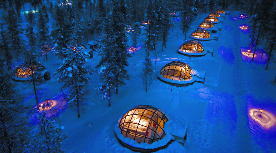 Kakslauttanen igloos from air VEN