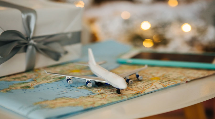 christmas airplane map stock photo