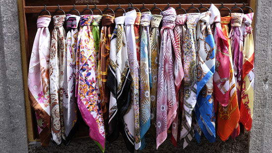 Silk scarf in Como Italy