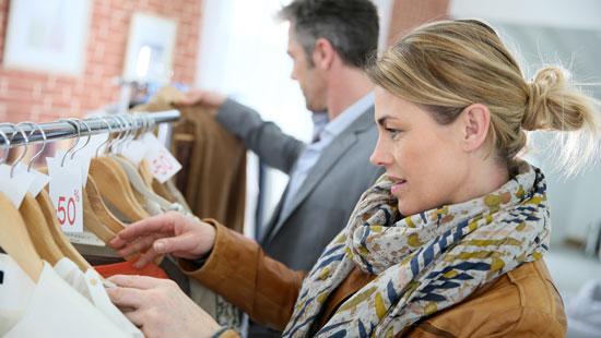 Stylish couple shopping