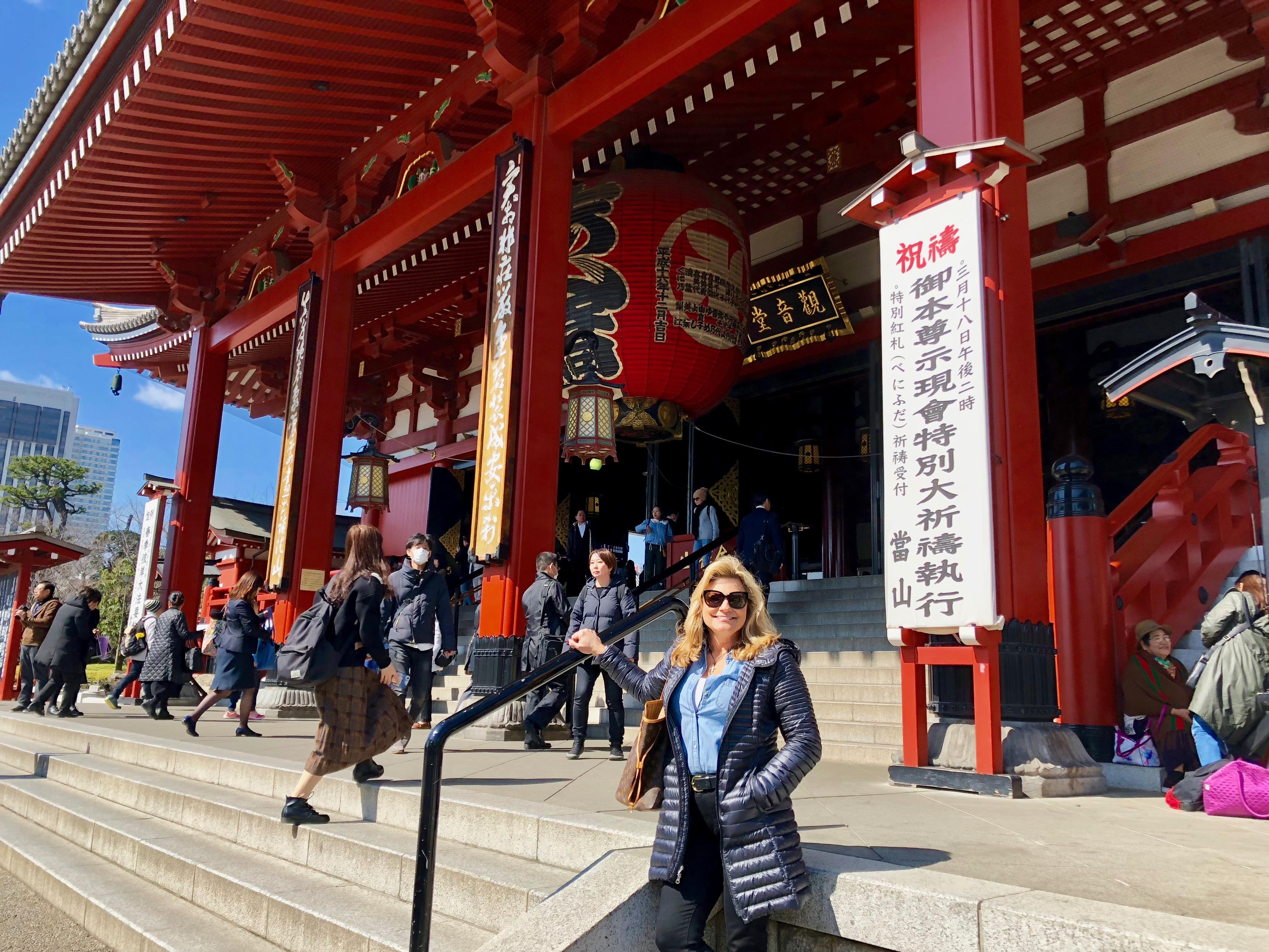 Suzanne in front of Sensoji Buddhist Temple  Tokyo JapanCVO