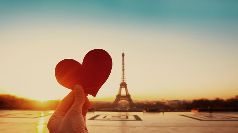 Heart Shape in Foreground of Eiffel Tower