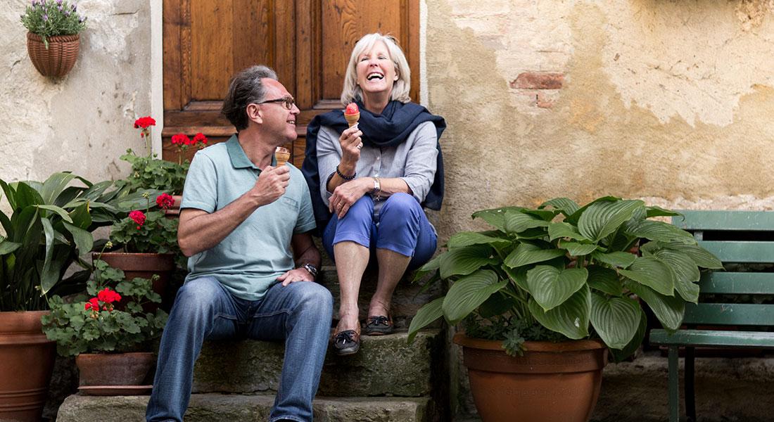 Senior Couple Eating Gelato