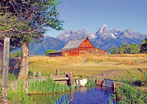 Barn with Tetons Behind - Wyoming - Collette