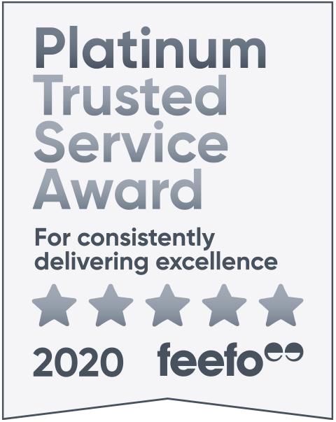 feefo platinum service 2020 tag light