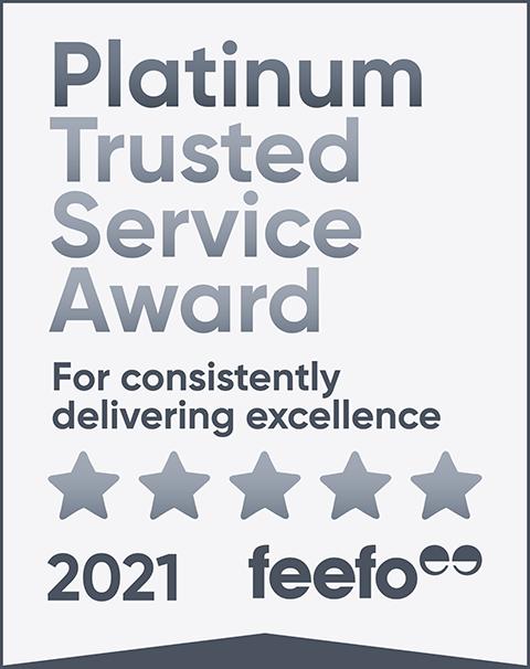 feefo platinum service 2021 tag light