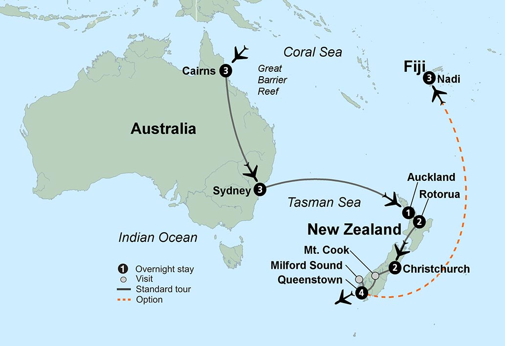 Thomas Cook Wonders of Australia and New Zealand – Auckland Australia Map
