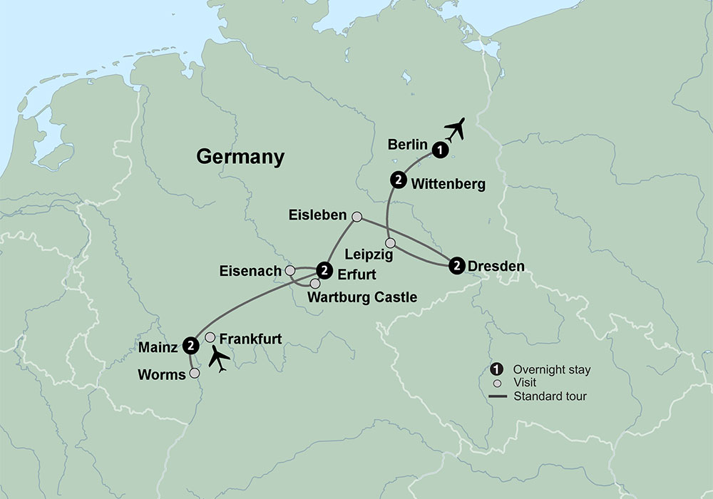 On The Trail Of Martin Luther Travel Tours Collette - Germany map erfurt