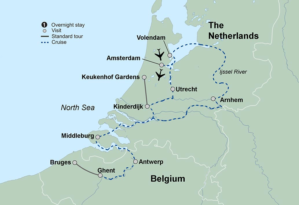 Springtime Tulip River Cruise Travel Tours Collette - Netherlands rivers map