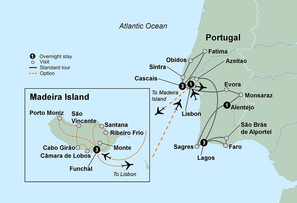 Sunny Portugal Estoril Coast Alentejo Algarve Travel Tours - Portugal map distances