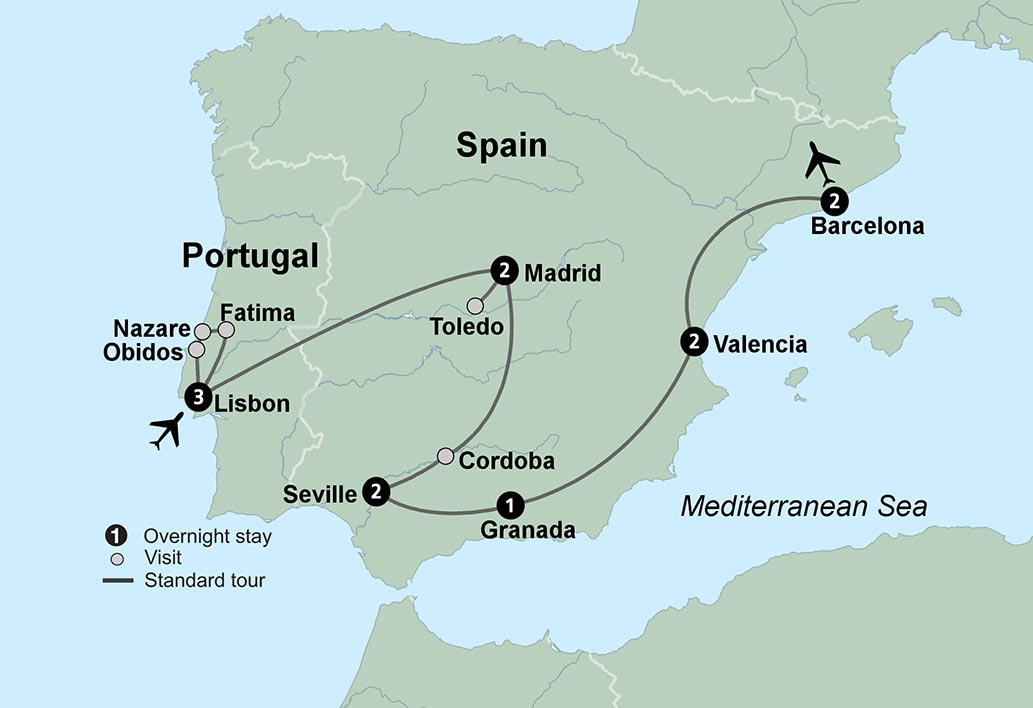 Map Of Tour Of Spain 2017.Spain S Classics Portugal Travel Tours Collette