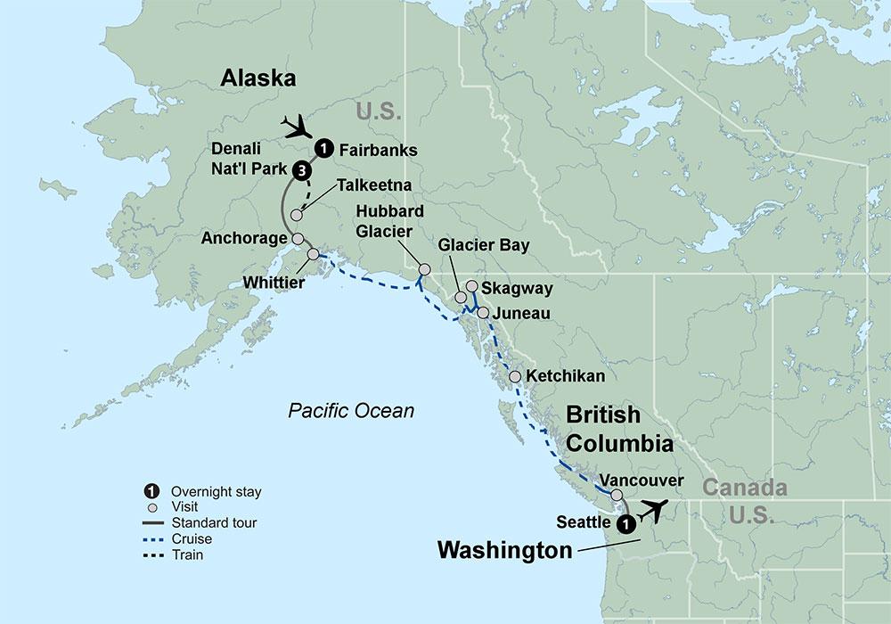 Alaska Discovery Land Cruise Featuring A Night Princess Cruise - Alaska tour
