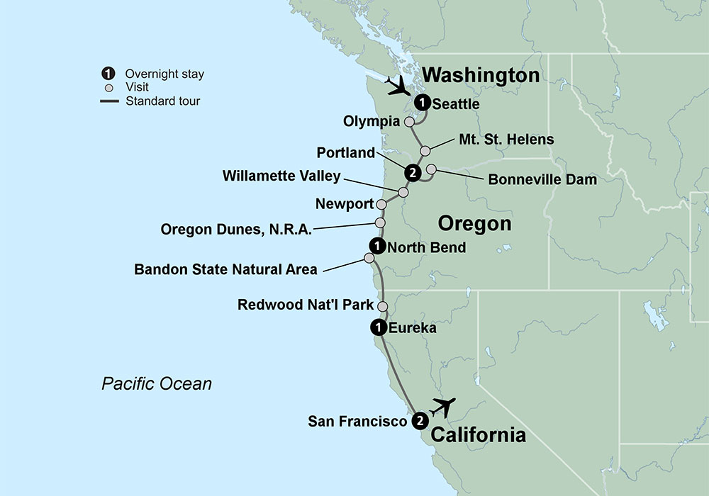 Pacific Northwest Vacations Pacific Northwest Tours Collette - Northwestern us map