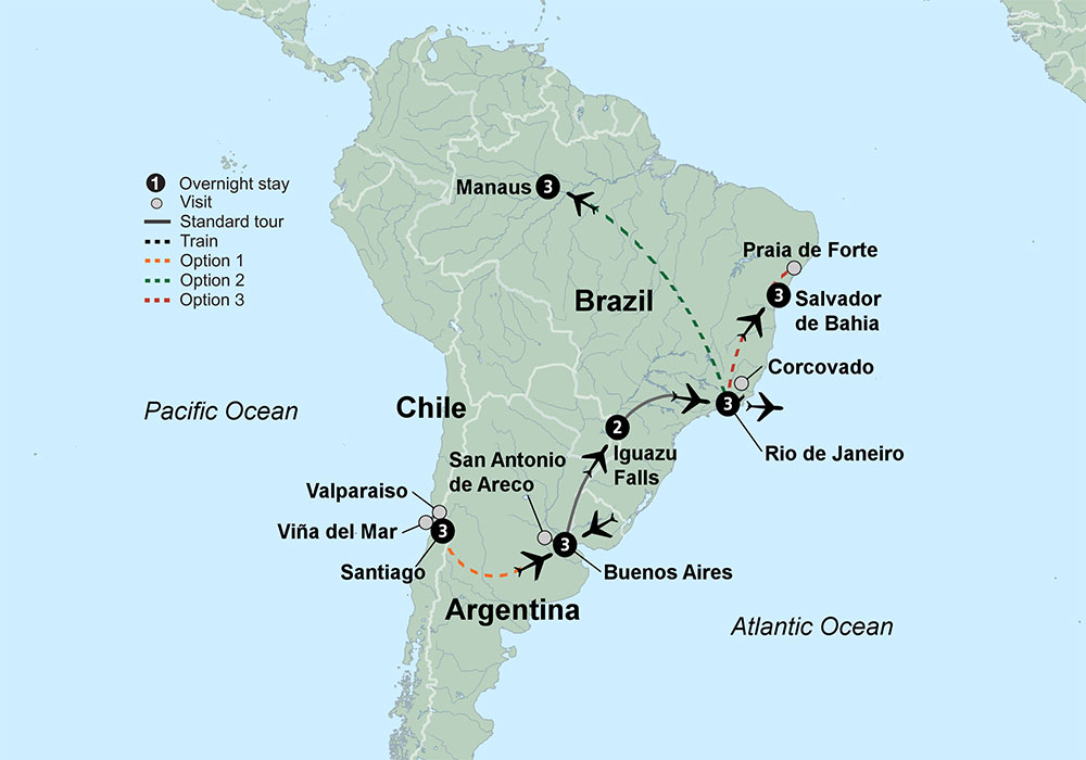 Highlights of South America featuring Buenos Aires Iguazu Falls
