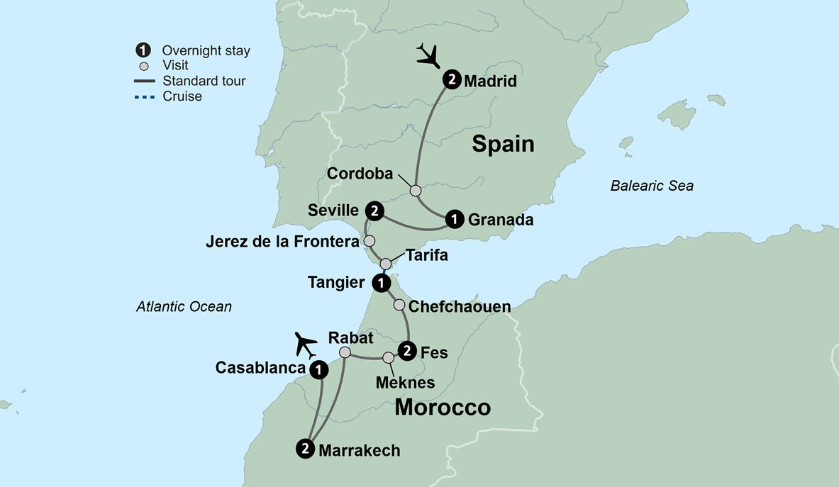 Map Of Spain Morocco.Spain And Morocco Itinerary Travel From Spain To Morocco