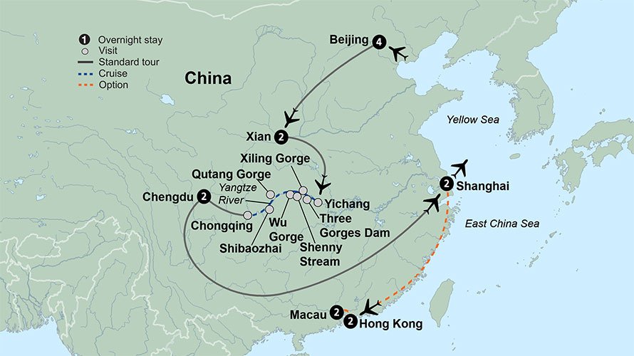 Map Of East Asia Yangtze River.China Travel Packages Featuring The Yangtze River Collette