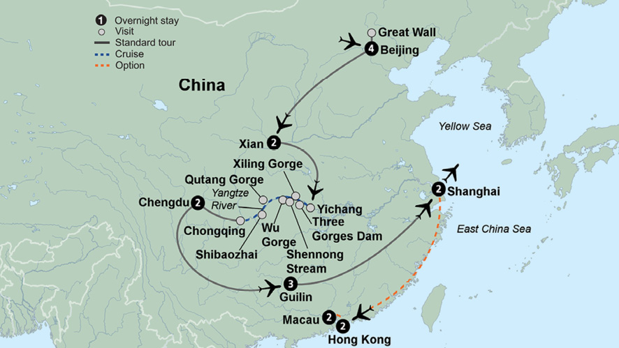 Map Of East Asia Yangtze River.Wonders Of China And The Yangtze River Travel Tours Collette