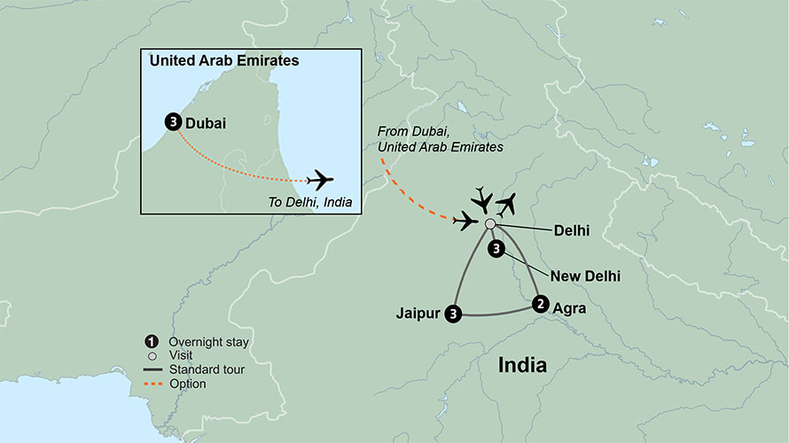 Map Of Asia Dubai.Trip To India Guided Tours Of India Collette