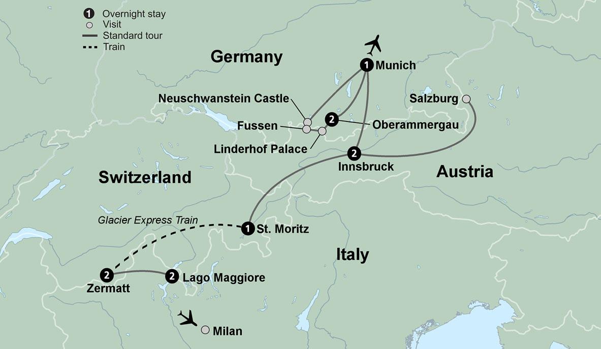 Alpine Explorer & the Glacier Express Train with ... on arctic circle map, lauterbrunnen map, cape town map, zermatt map, milan map, japan map, whistler village gondola map, aletsch glacier map, many glacier map, bahn glacier map, switzerland map, sydney map, lake garda map, bellinzona map, albania map, alps map, italy map, davos map,