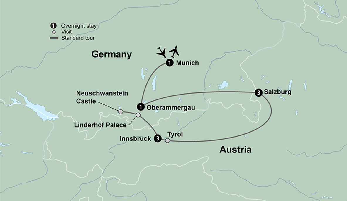 Oberammergau Germany Map.Austrian Delight With Oberammergau Passion Play Travel Tours