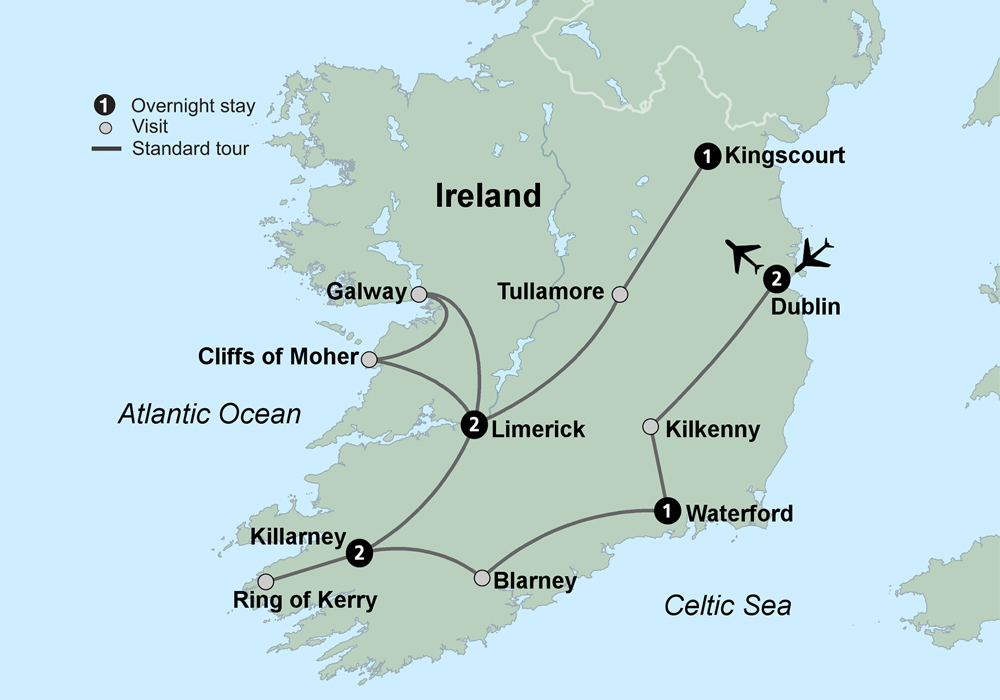 Map Of Ireland On Your Face.Travel Ireland With Collette Ireland Tour Packages