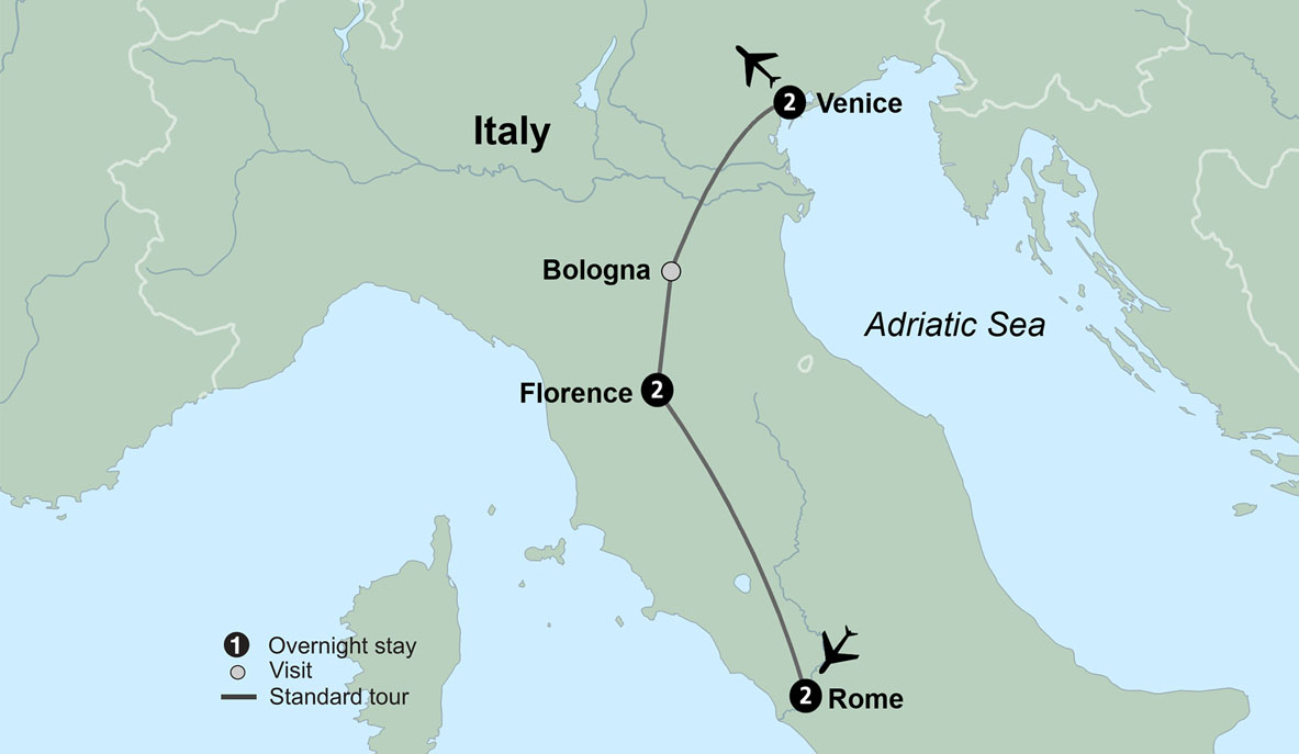 Map Of Italy Showing Venice.Tour Italy Italy Travel Packages With Venice Florence Rome