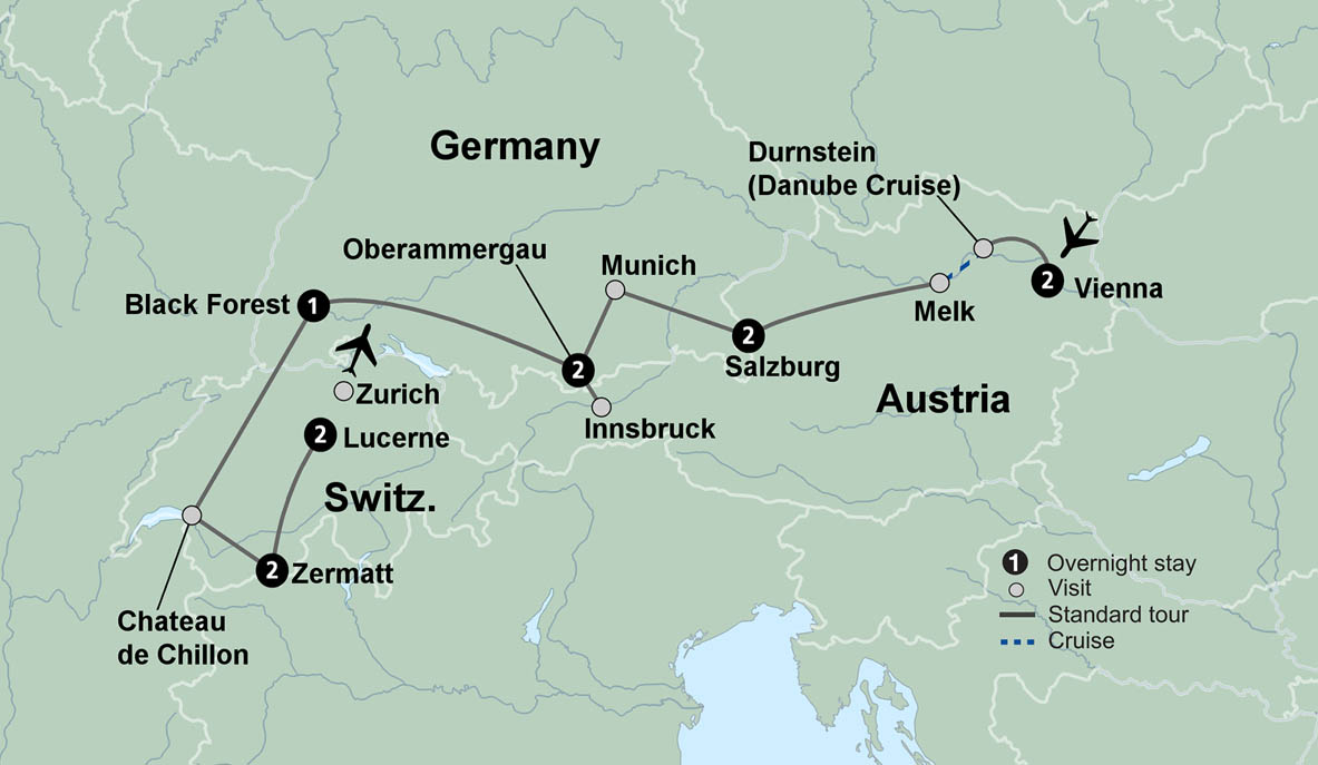 Map Of Germany And Switzerland.Germany Austria Switzerland Itinerary The Alpine Countries