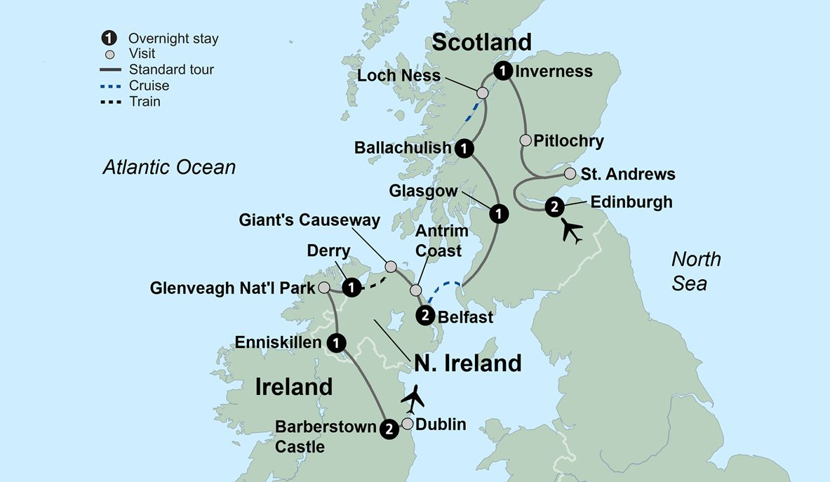 Map Of N Ireland.Tour Ireland And Scotland Ireland And Scotland Travel Packages