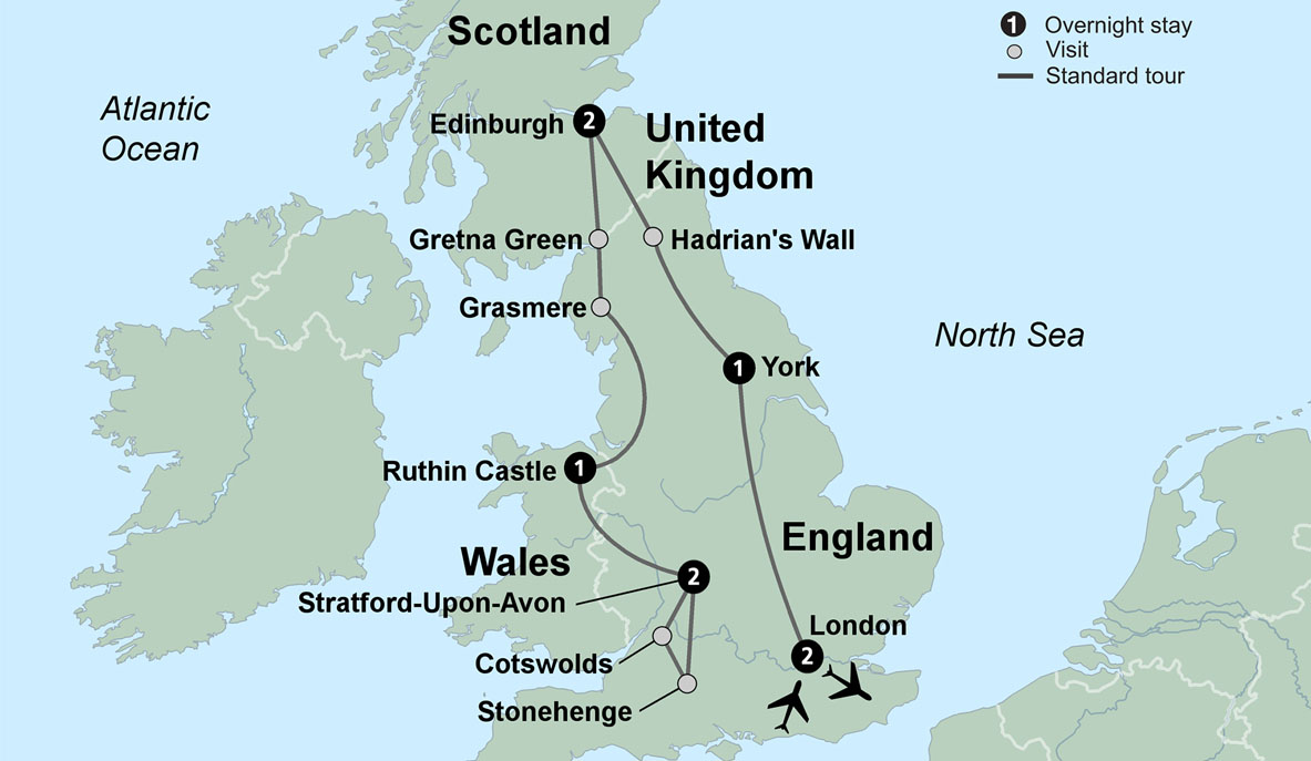 Map Of England Showing York.Uk Itinerary Travel Tours In Uk British Landscapes Tour