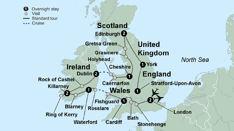Map Of England Ireland Scotland Wales.Exploring Britain And Ireland Uk Tour Package Collette